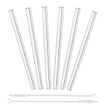 Glass Straw Straight Set of 6